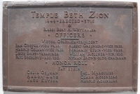 1949 Temple Beth Zion Building Plaque