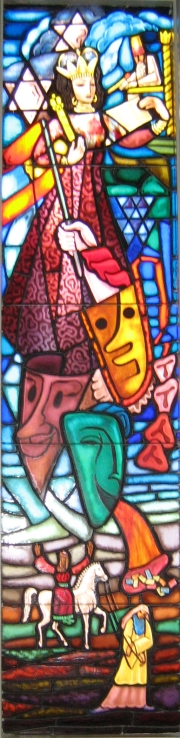 Stained glass depicting Purim.