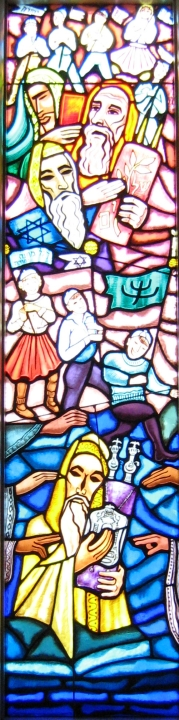 Stained glass depicting .