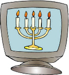 Computer monitor showing menorah with 5 candles.